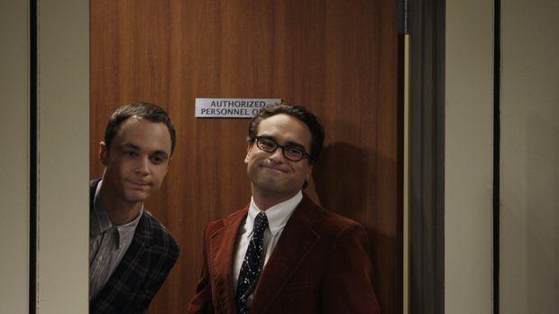 Ein Vortrag von Leonard (Johnny Galecki, r.) und Sheldon (Jim Parsons, l.) vo...