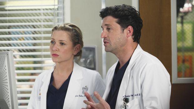 Arizona (Jessica Capshaw, l.) und Derek (Patrick Dempsey, r.) müssen einen kn...