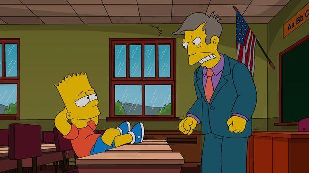 Bekommt Ärger von Rektor Skinner (r.), weil er ein Gerücht in die Welt gesetz...