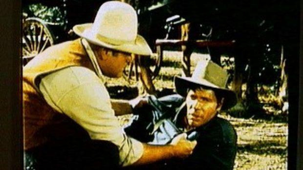 Hoss (Dan Blocker, l.) kümmert sich um den Vagabunden Sonny (Dick Peabody, r....