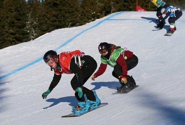 Rennszene vom Snowboardcross in Lillehammer 2016