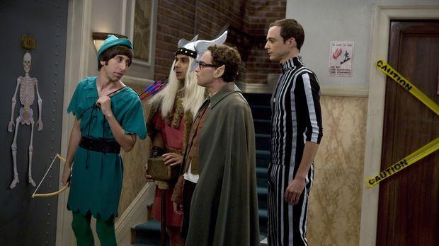 Penny lädt die vier Physiker Leonard (Johnny Galecki, 2.v.r.), Sheldon (Jim P...