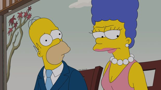 Bei Homer (l.) und Marge (r.) hängt der Haussegen schief, denn Homer hat sich...