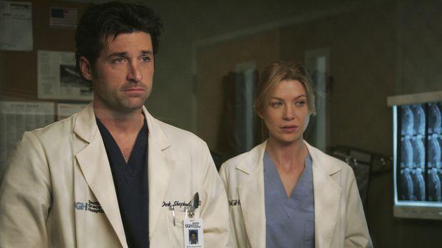 Da es Meredith (Ellen Pompeo, r.) immer noch schwer fällt, den charmanten Ava...