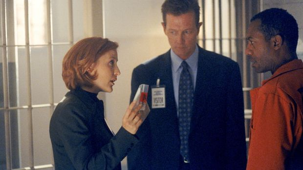 Scully (Gillian Anderson, l.) und Doggett (Robert Patrick, M.) halten den Sta...
