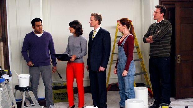 Wollen gemeinsam das Babyzimmer streichen: (v.l.n.r.) Kevin (Kal Penn), Robin...