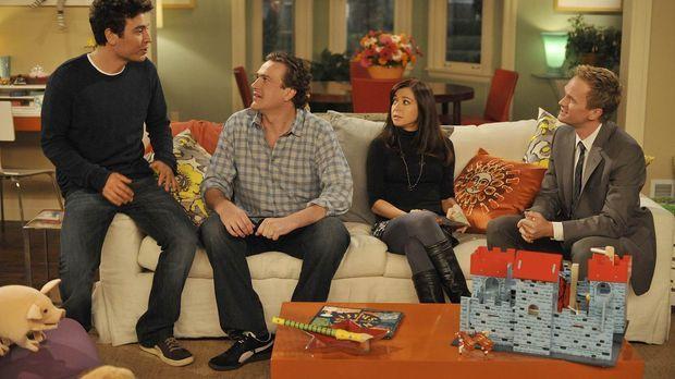 Als Barney (Neil Patrick Harris, r.), Lily (Alyson Hannigan, 2.v.r.), Robin,...