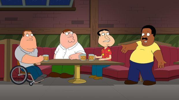 Sind überrascht, als Cleveland (r.) wieder zurückkommt: Joe (l.), Peter (2.v....