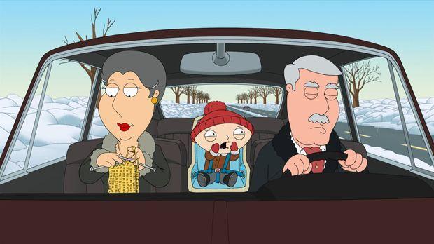 Als Stewie (M.) von seinen Großeltern Barbara (l.) und Carter (r.) abgeholt w...