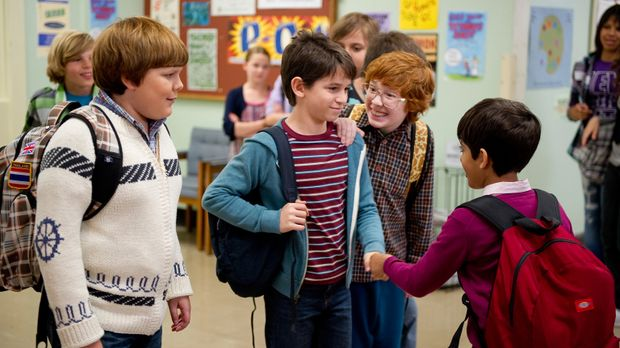 Für Greg (Zachary Gordon, 2.v. l.), Rowley (Robert Capron, l.), Fregley (Gray...