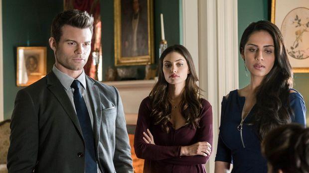 Verzweifelt versuchen Elijah (Daniel Gillies, l.), Hayley (Phoebe Tonkin, M.)...