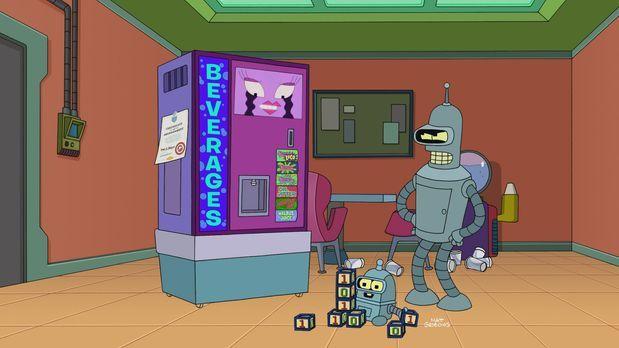 Futurama - Bender (r.) gerät mit der neuesten Errungenschaft bei Planet Expre...