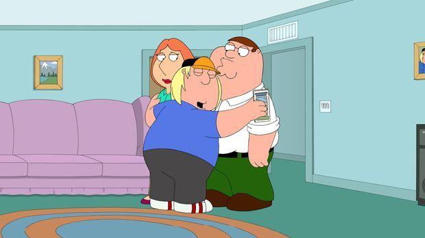 Peter (r.) und Lois (l.) planen, Chris (M.) in ein Camp zu schicken, um so se...