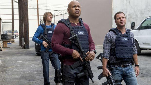 Das Team um Callen (Chris O'Donnell, r.), Sam (LL Cool J, M.) und Deeks (Eric...