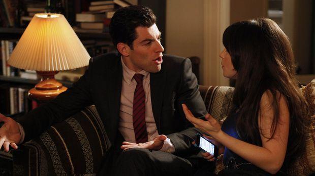Jess (Zooey Deschanel, r.) bittet Schmidt (Max Greenfield, l.), mit ihr am Va...