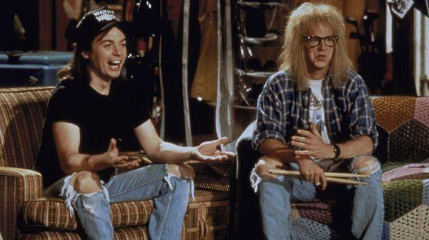 Die Chaoten Wayne (Mike Myers, l.) und Garth (Dana Carvey, r.) wollen ein rie...