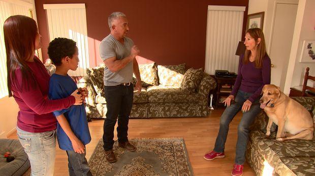 Cesar (2.v.r.) bekommt einen Anruf von Alyssa (l.), deren Mutter Leslie einen...