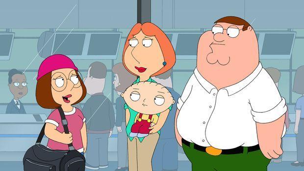 Mit mehr oder weniger schwerem Herzen lassen Lois (M. hinten), Peter (r.) und...