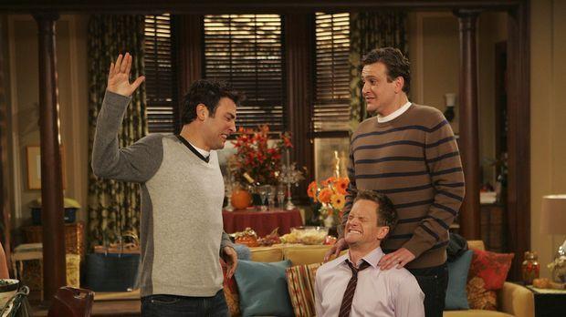 Die Rache der Ohrfeige: Ted (Josh Radnor, l.), Marshall (Jason Segel, M.) und...