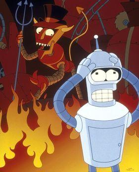Futurama - Prompt landet Bender (r.) in der Hölle, und Fry und Leela müssen i...