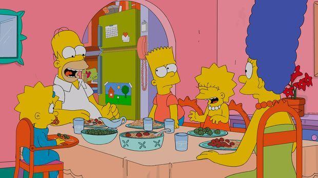 Eine ganz besondere Familie: Maggie (l.), Homer (2.v.l.), Bart (M.), Lisa (2....